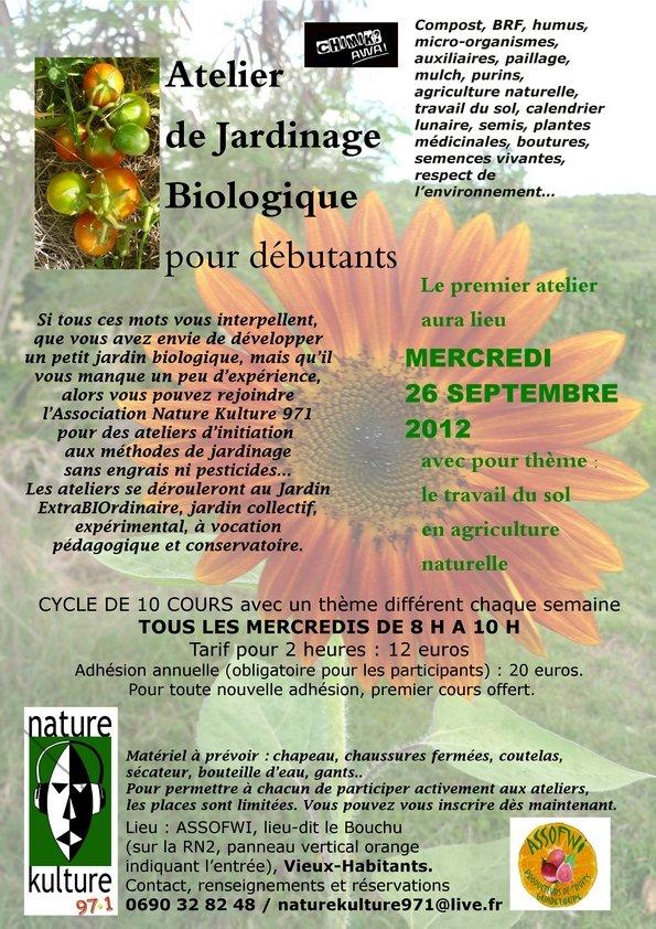 Atelier de Jardinage biologique pour débutants mercredi 26 septembre 2012 dans le jardin extraBIOrdinaire flyer-cours-jardinage-web